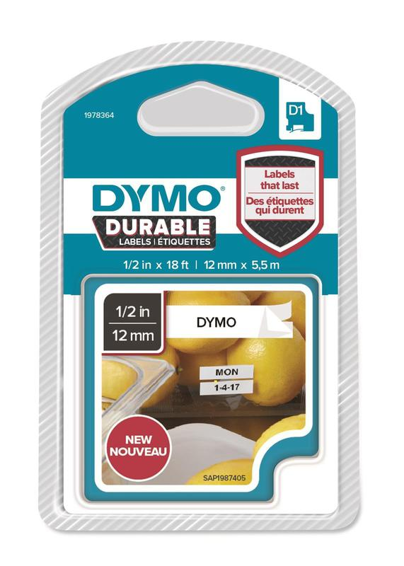 DYMO D1 Durable 12mmX5.5M BK on WT