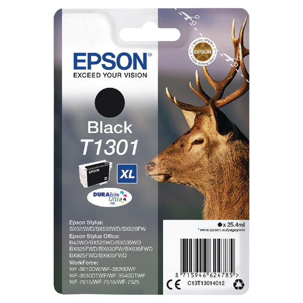 Epson T1301 Inkjet Cartridge DURABrite Stag XL Capacity 25.4ml Black Ref C13T13014012