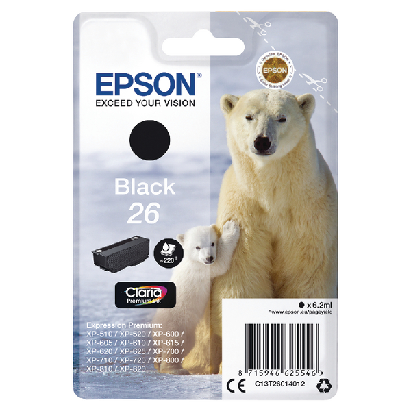 Epson 26 Ink Cart Black T26014012