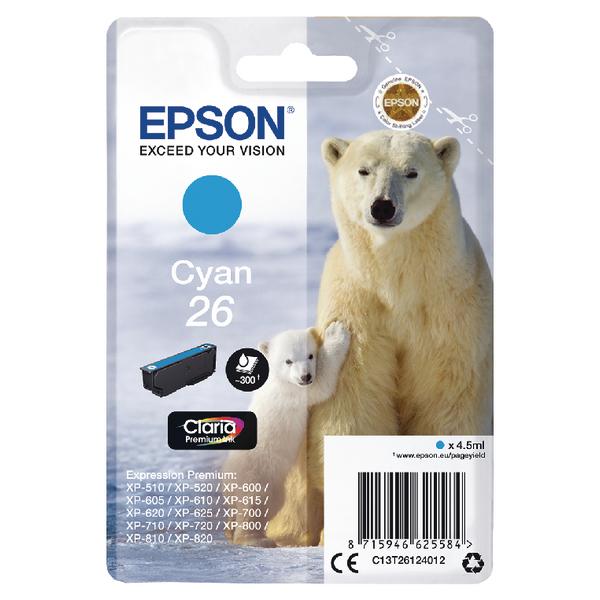 Epson T2612 26 Inkjet Cartridge Polar Bear Capacity 4.5ml 300pp Cyan Ref C13T26124012
