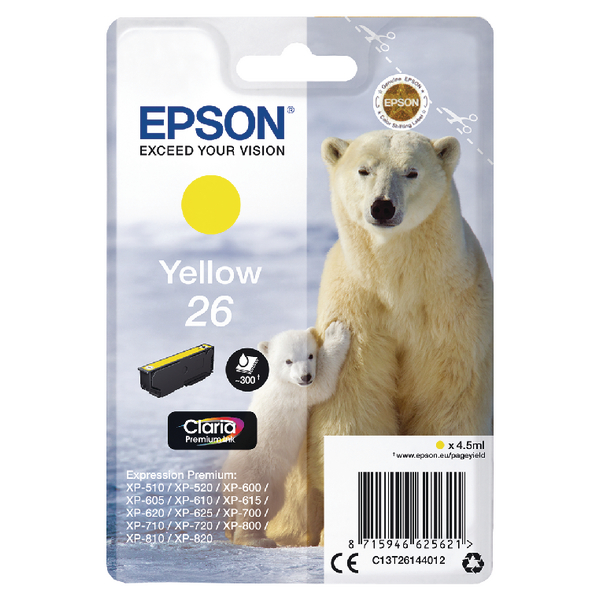 Epson 26 Inkjet Cartridge Polar Bear Capacity 4.5ml 300pp Yellow Ref C13T26144012