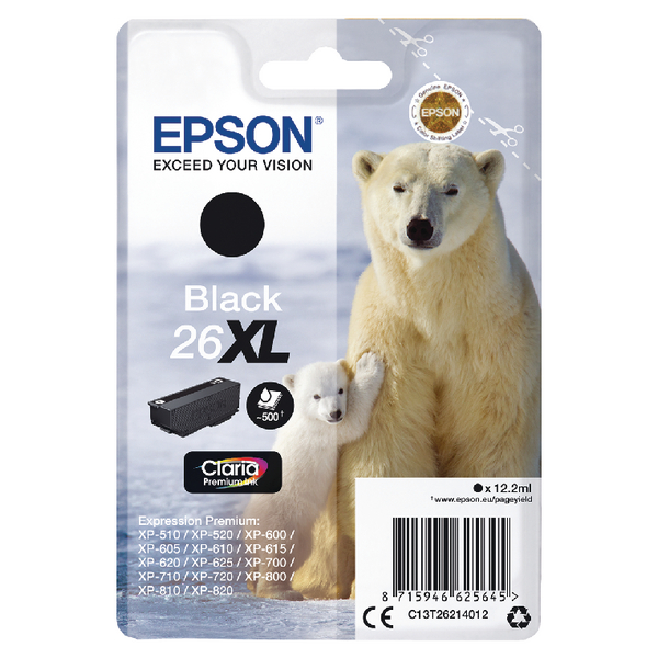 Epson 26XL Ink Cart Black T26214012
