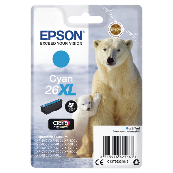 Epson 26XL Ink Cart Cyan T26324012
