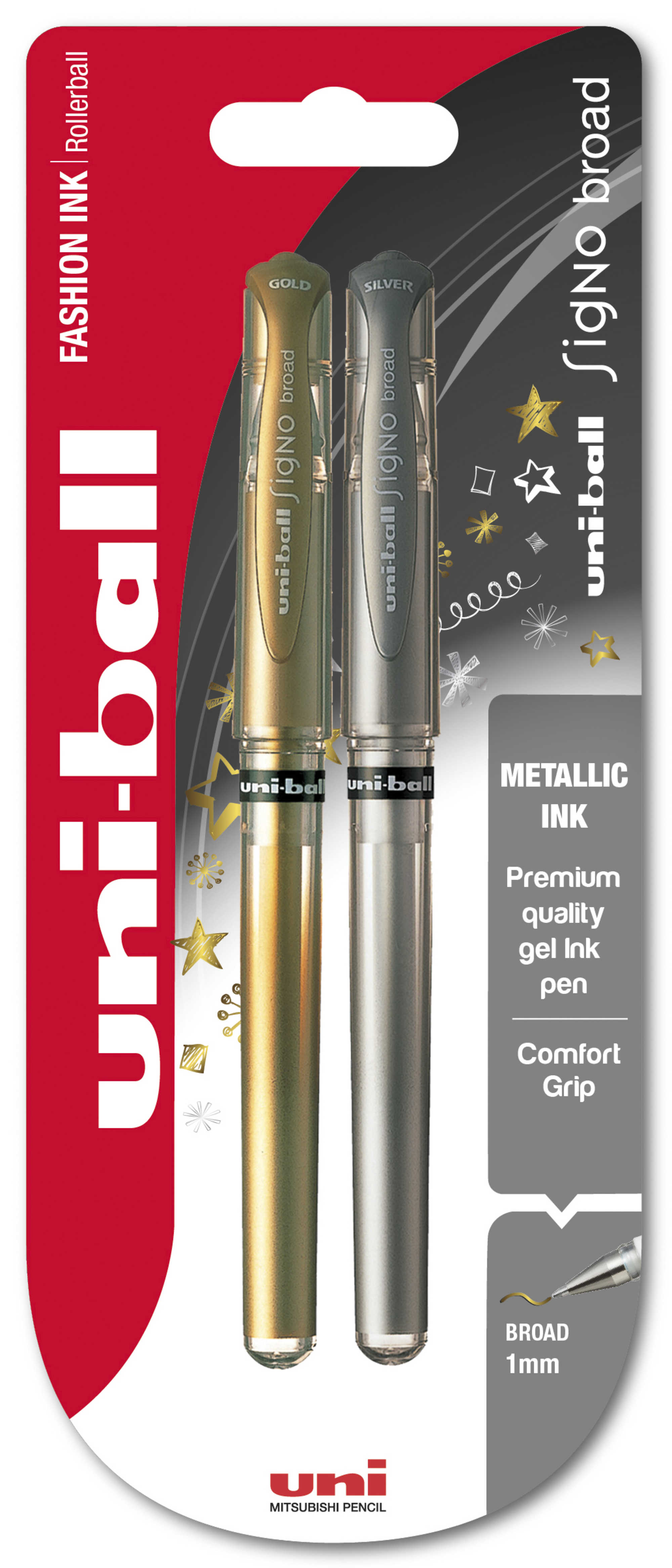 Uni-Ball UM-153 Signo Broad Metallic Blister Silver/Gold PK2