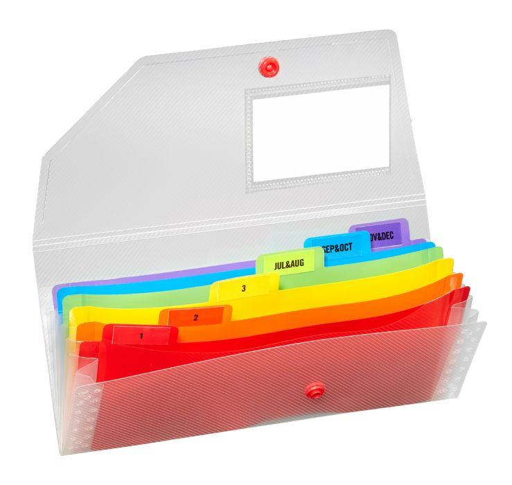 Snopake Rainbow 3 part Expanding Organiser DL