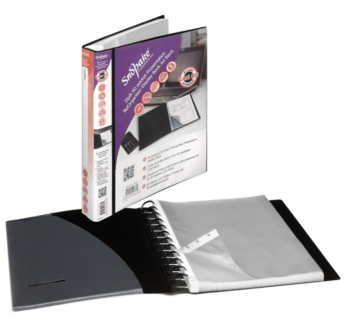 Snopake ReOrganiser Display Book A4 60 Pocket Black
