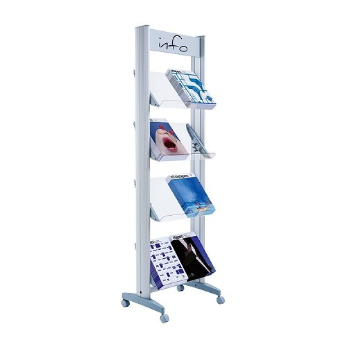 Literature Holders Fast Paper Mobile Display With Plexiglass Shelves