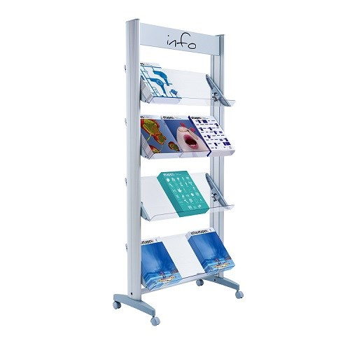 Literature Holders Fast Paper Wide Mobile Display With Plexiglass Shelves