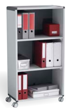 Over 1200mm High Fast Paper Mobile 3 Compartment Bookcase Grey/Charcoal