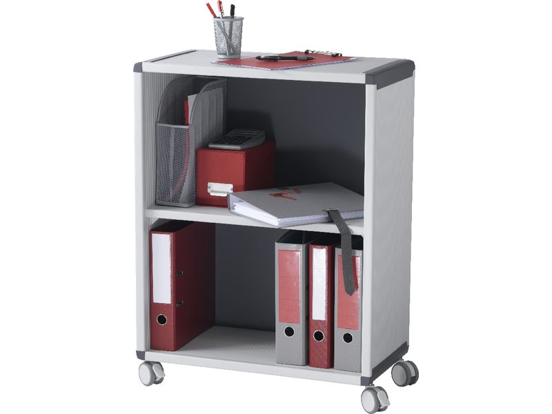 Fast Paper Mobile 2 Compartment Bookcase Grey/Charcoal