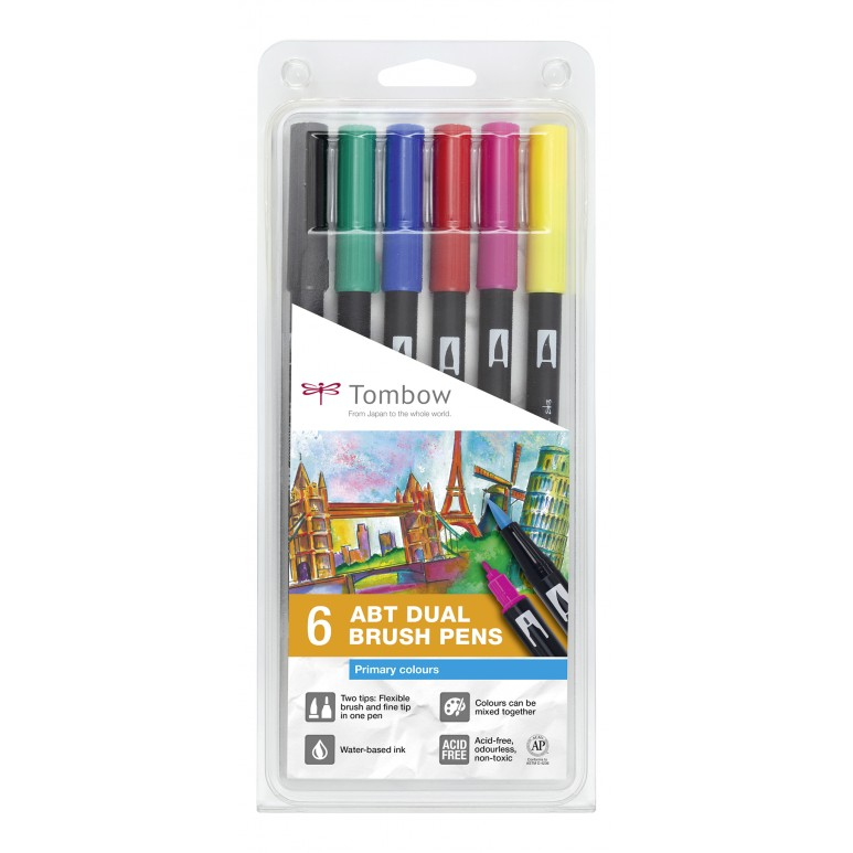 ABT Dual Brush Pen Primary clrs PK6