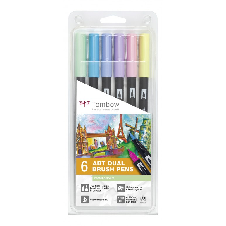 ABT Dual Brush Pen Pastel clrs PK6