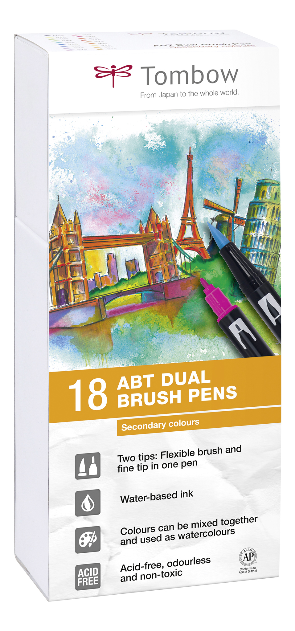 ABT Dual Brush Pen Scndry clrs PK18