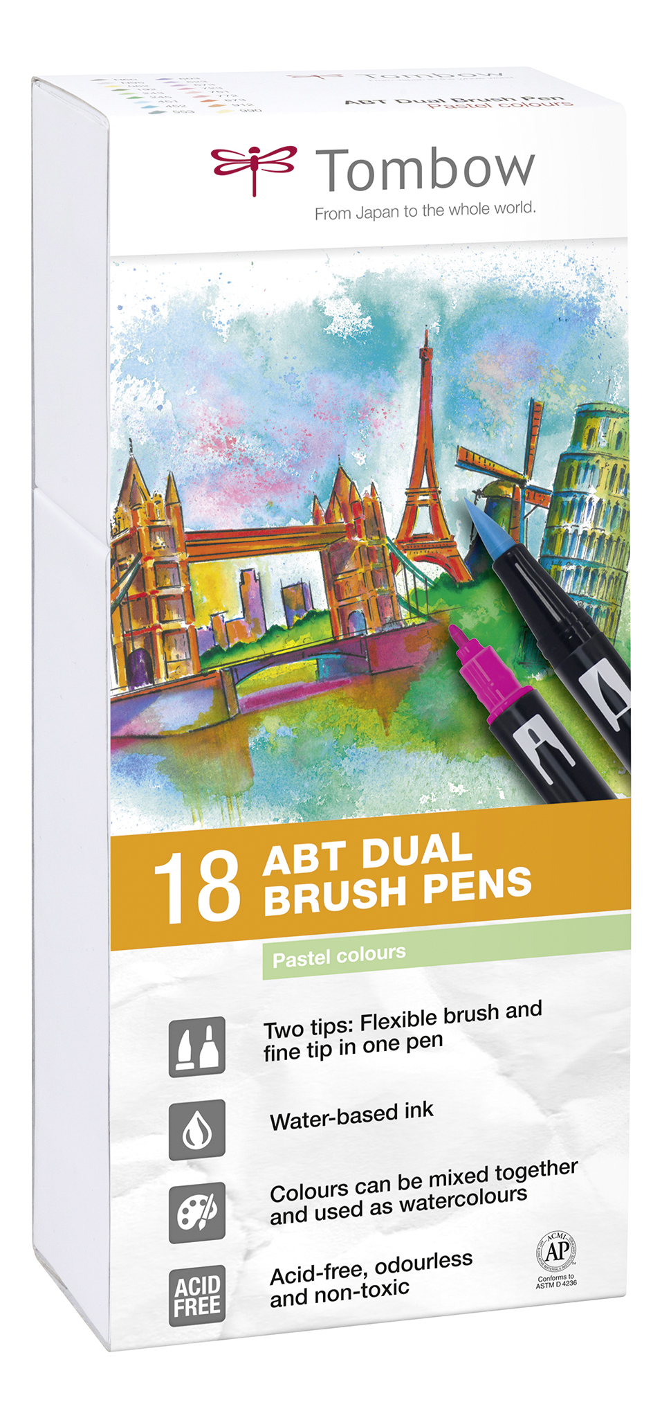 ABT Dual Brush Pen Pastel clrs PK18