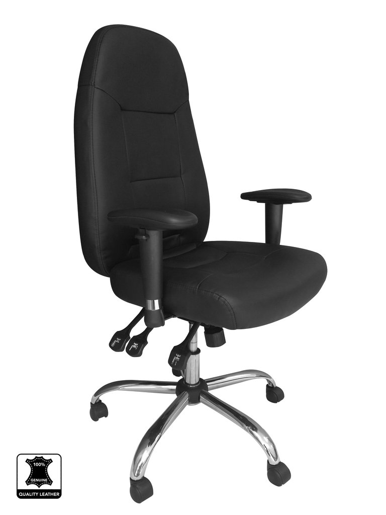 24 Hour Operator Chair Leather BK