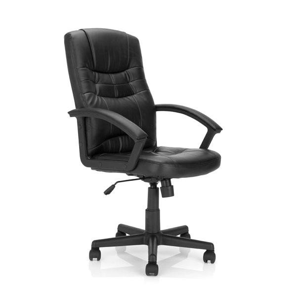 Darwin High Back Leather Faced Executive Armchair Black