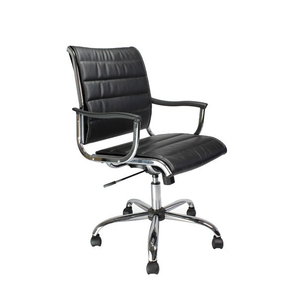 Cantilever Leather Effct Chair BK