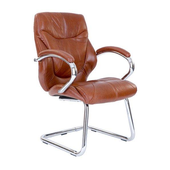 Chrome Cantilever Leather Armchr TN