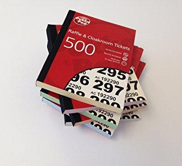 Value Cloakroom-Raffle Ticket Numbers 1-500 RAF500 - (PK6)