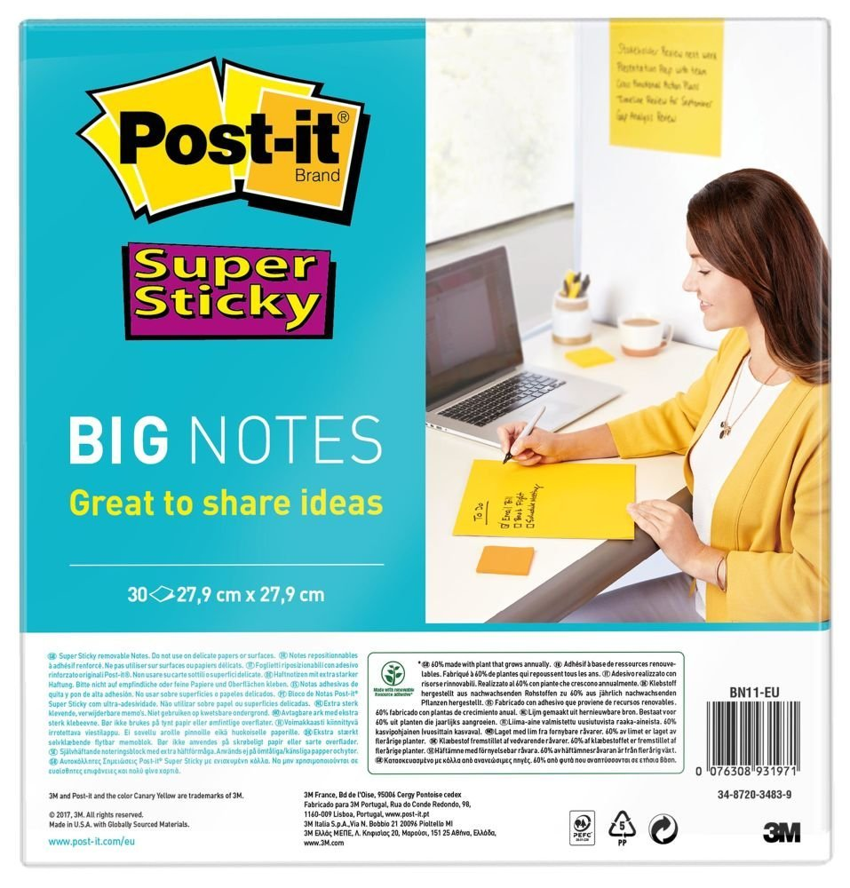Post-it SS Notes 279x279mm YW 30Sh
