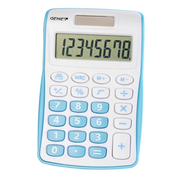 Handheld Calculator Genie 120B Pocket Calculator 8 Digit Blue