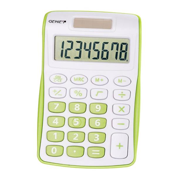 Handheld Calculator Genie 120B Pocket Calculator 8 Digit Green