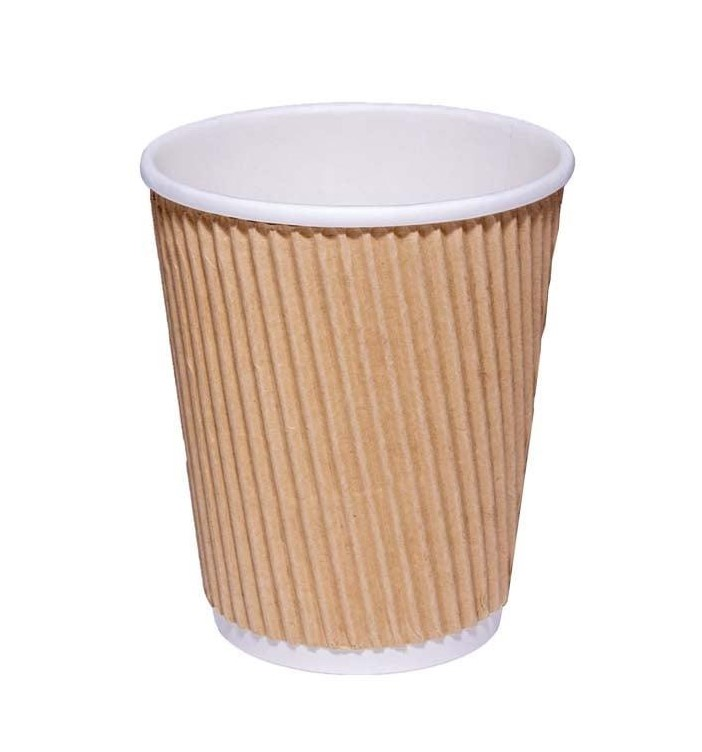 Disposable Cups & Accessories ValueX 8oz Kraft Ripple Hot Cup (Pack 25)