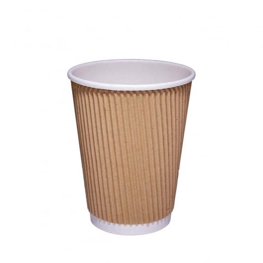 12oz Kraft Ripple Hot Cup PK25