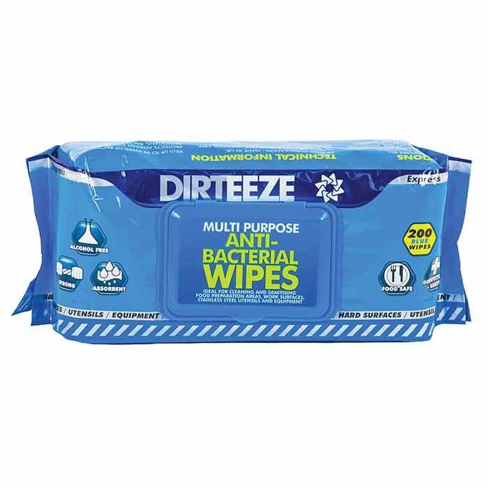 Cleaning Chemicals Dirteeze Antibacterial Wipes Flowpack (Pack 200)