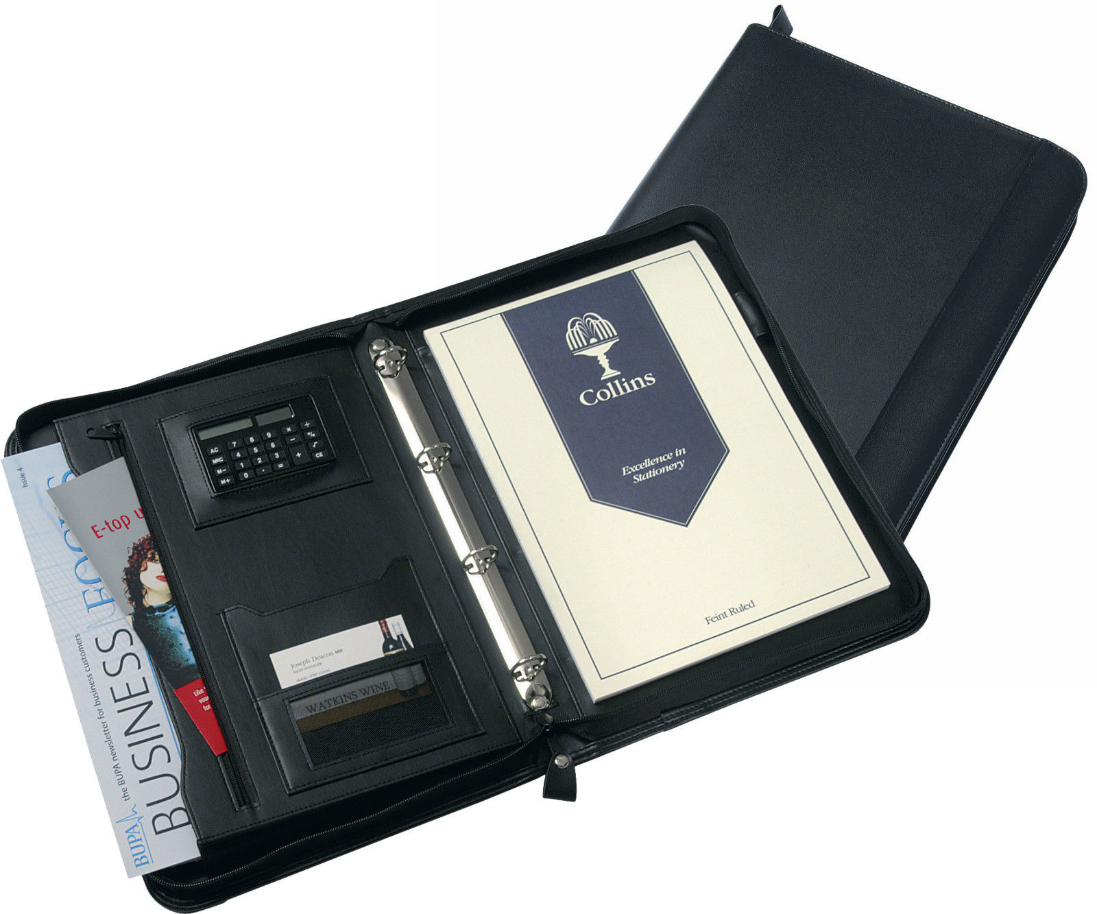 Potfolios Collins A4 Conference Ring Binder with Calculator Zipped Leather Look Black 5090