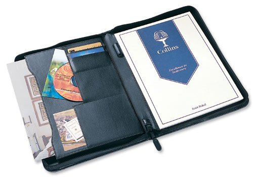 Potfolios Collins A4 Conference Portfolio with Zip Leather Look Black 7018