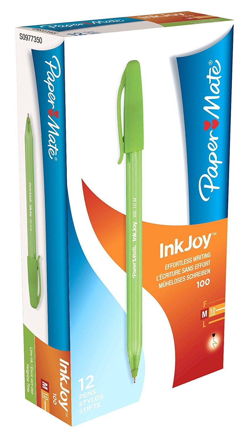 Paper Mate InkJoy 100 CAP Ball Pen Med Tip Light Green PK12