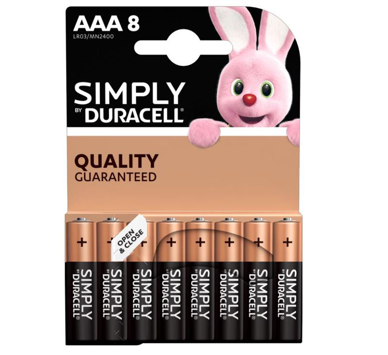AAA Duracell AAA SIMPLY Batteries PK8