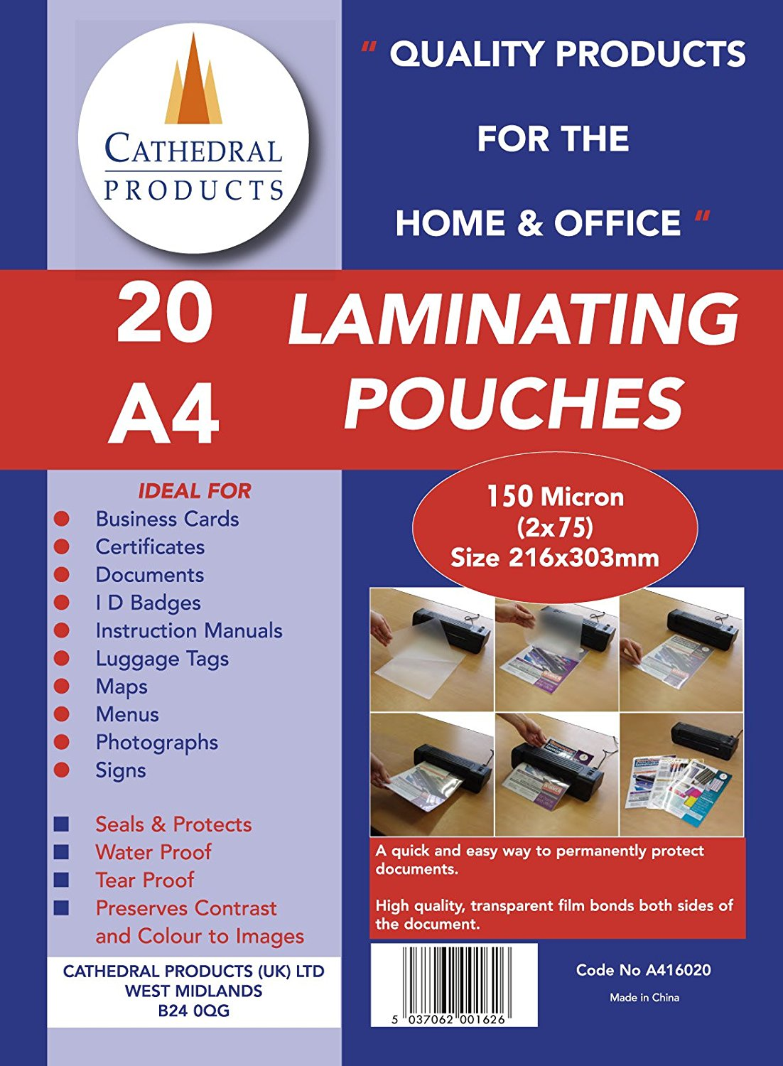 Laminating Film & Pockets ValueX Laminating Pouch A4 150Micron (Pack 20)