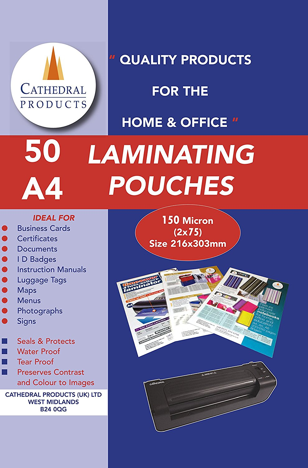 Laminating Film & Pockets Cathedral Laminating Pouch A4 150 Micron (Pack 50)