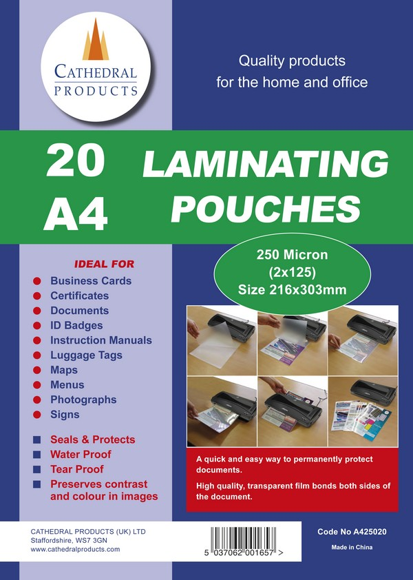 Laminating Film & Pockets Laminating Pouch A4 250Micron Pk20