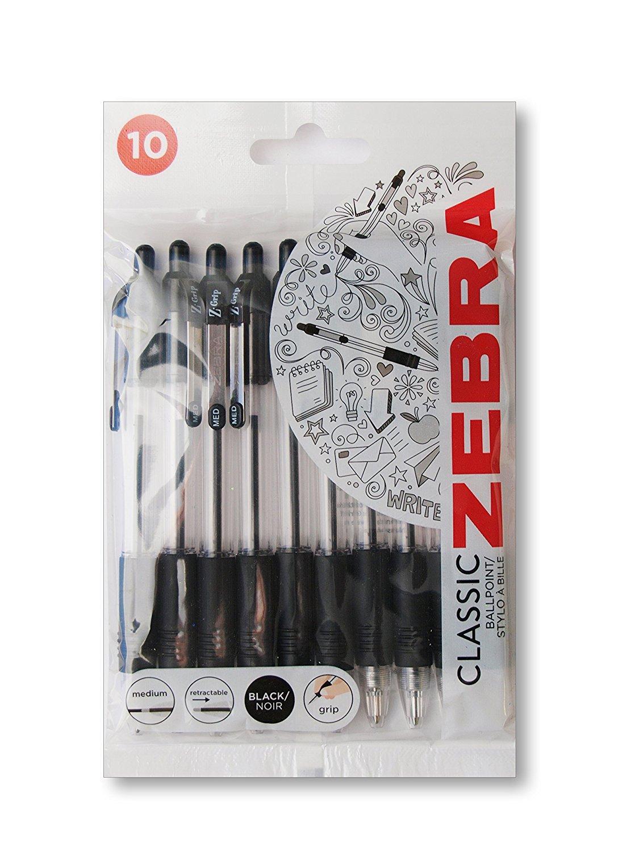 Ball Point Pens Zebra Z-Grip Retractable Ballpoint Pen 1.0mm Tip Black (Pack 10)