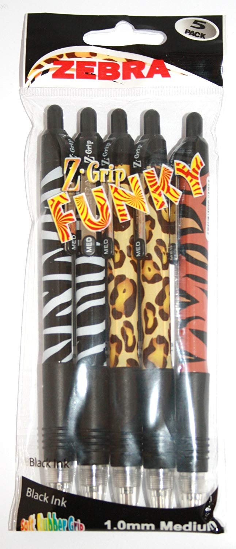 Ball Point Pens Zebra Z-Grip Funky Animal Retractable Ballpoint Pen 1.0mm Tip Black (Pack 5)
