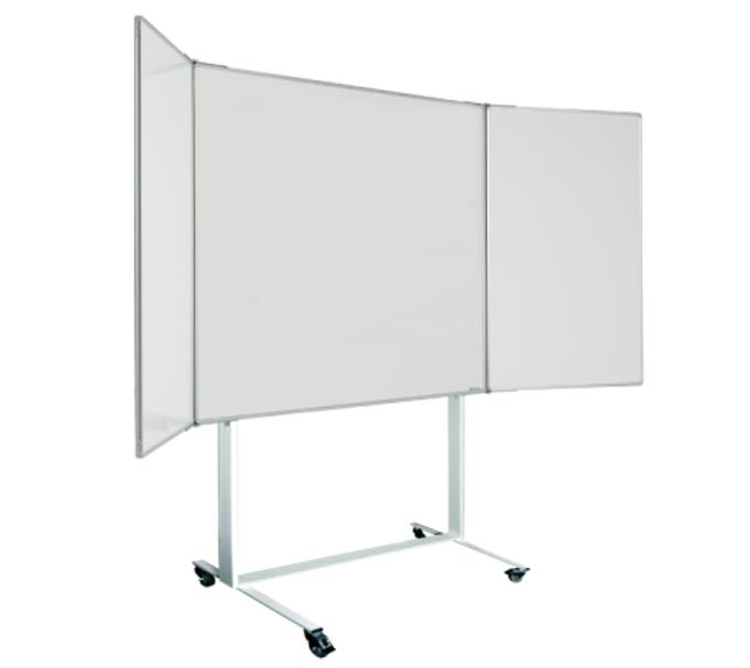 Magiboards Mobile Wingboard Magnetic Coated Steel Whiteboard Aluminium Frame 1200x1200mm