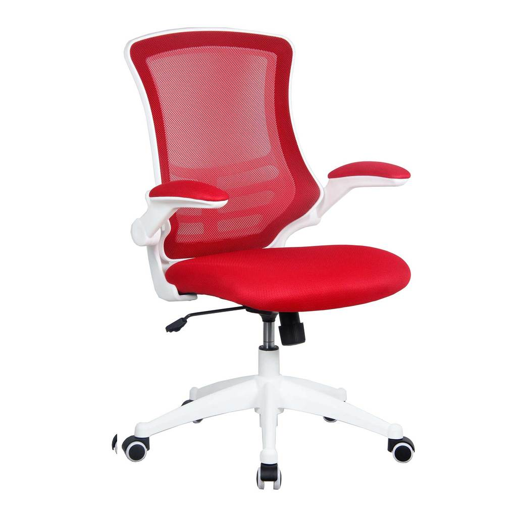 Luna White Frame Designerer Mesh Chair Red