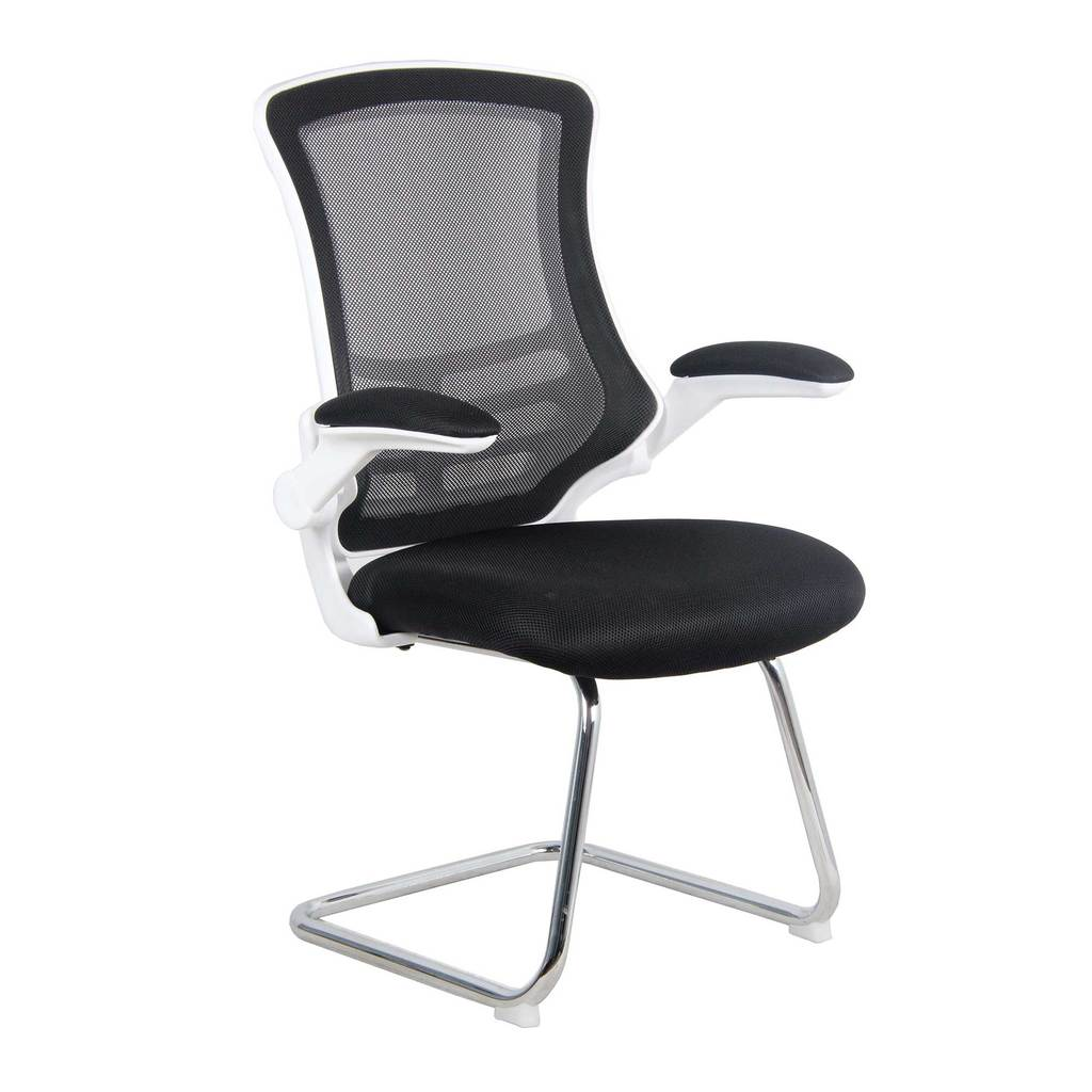 Luna White Shell Chrome Frame Cantilever Mesh Chair Black