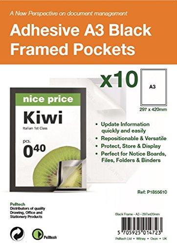 A3 Adhesive Display Frm mag Pk10 Bk