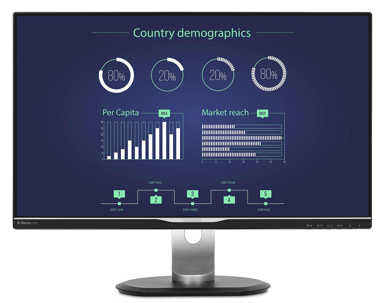 Monitors Philips 258B6Queb 25In Ips HDMI Dp