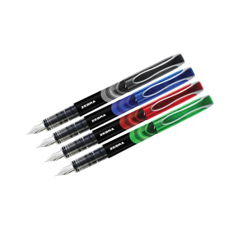 Fountain Pens Astd BK BL RD GR PK4
