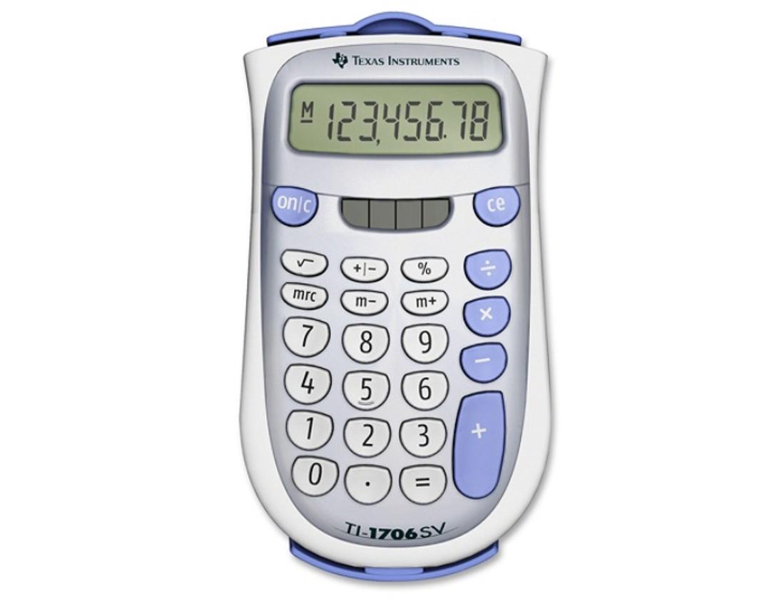 TI-1706 SV Pocket Calculator with Protective Cover