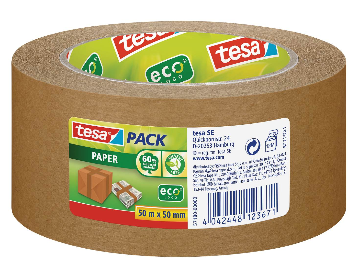 Packing Tape tesa Recycld Paper Packaging Tape 50mm x 50M Brown 57180 PK6