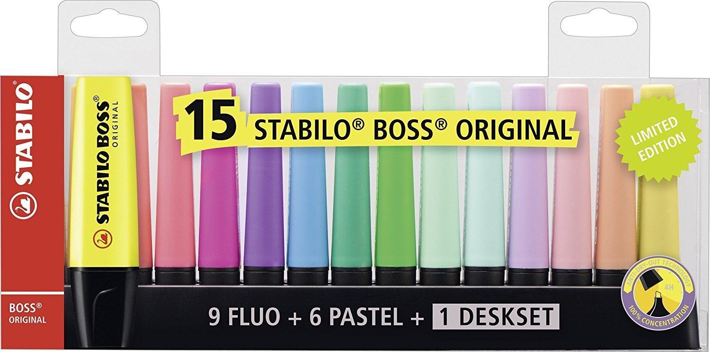 Highlighters Stabilo BOSS Deskset Highlighter Chisel Tip Asstd (Pack 15)