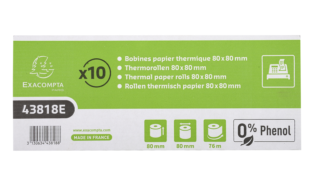 Thermal Rolls Phenol Free 55g 80x80x12mm 76mm PK10