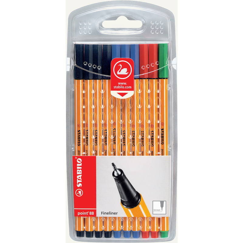 Colouring Pens Stabilo Point 88 Fineliner Office Colours PK10