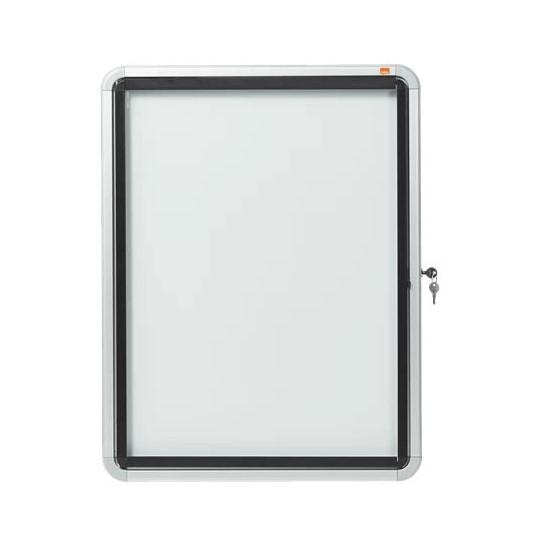 Nobo External Glazed Case Swing Door Magnetic White 4xA4